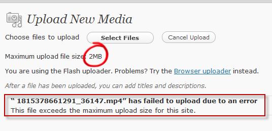 رفع مشکل آپلود فایل با حجم بالا در وردپرس