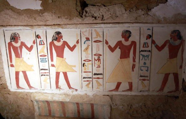 A Detail Shows One Of Two Rock-hewn Painted Old Kingdom Tombs Recently Discovered, 20 Meters Below The Ground Level In Tact, On July 8, 2010, At Saqqara Necropolis. AFP PHOTO/KHALED DESOUKI (Photo Credit Should Read KHALED DESOUKI/AFP/Getty Images)