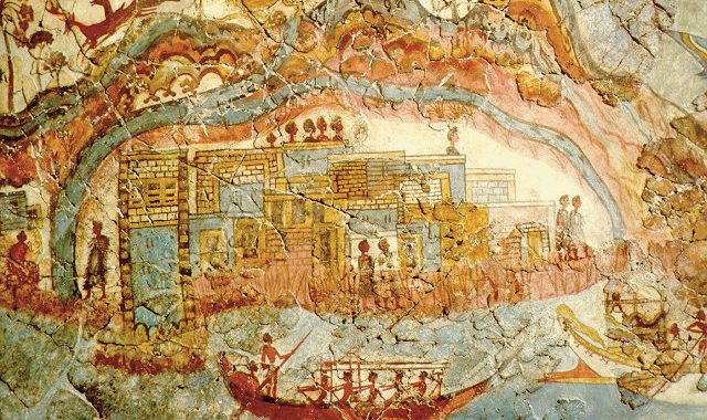 Minoan Fresco, Showing A Fleet And Settlement Akrotiri